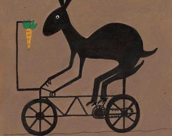 Rabbit on Exercise Bike Primitive Folk Art Painting,10 x 8 inch Print From my Original Folk Art