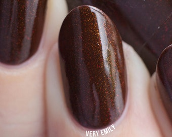 Beneath Red Mountain - 15 ml - dark mahogany with bronze shimmer and red microglitter - indie polish by ALIQUID Lacquer