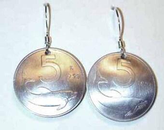 Italian Dolphin coin earrings-free shipping
