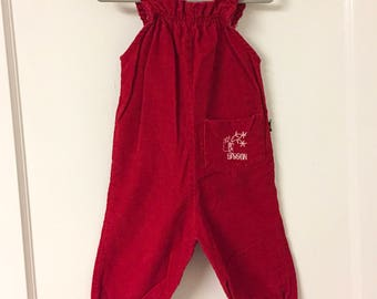 Vintage SASSON Red Corduroy Jumper Overalls