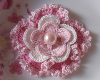 Crochet Flower in 3 inches in Lt Pink, Off White, Pink  YH - 076-02