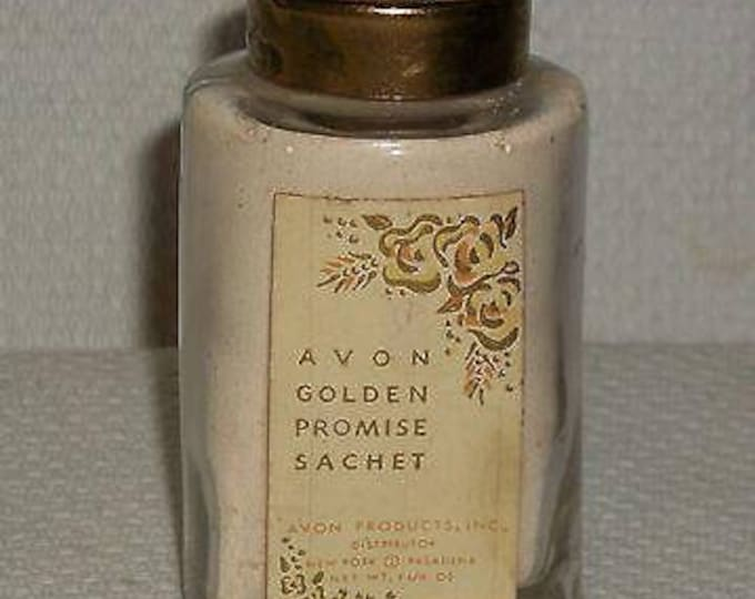 Vintage 40s 1948 Avon Gold Promise Sachet 1 1/4 OZ. 62nd Anniversary Full Powder Bottle