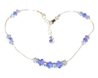Swarovski Crystal Anklet Sterling Silver 2-tone SAPPHIRE BLUE Handcrafted