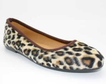 Leather shoes womens/ Leopard shoes  leather ballet flats-Ballerines imprimé léopard