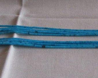 Five Strand Block Turquoise Heshi Necklace