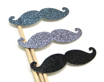 3 GLITTERY Mustaches For the Discerning Gentleman or Gentlewoman