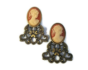 Cameo Earrings, Large, Statement Earrings, Clip On Earrings, Cameo Jewelry, Victorian Jewelry, Antique Cameo Earings, For Women