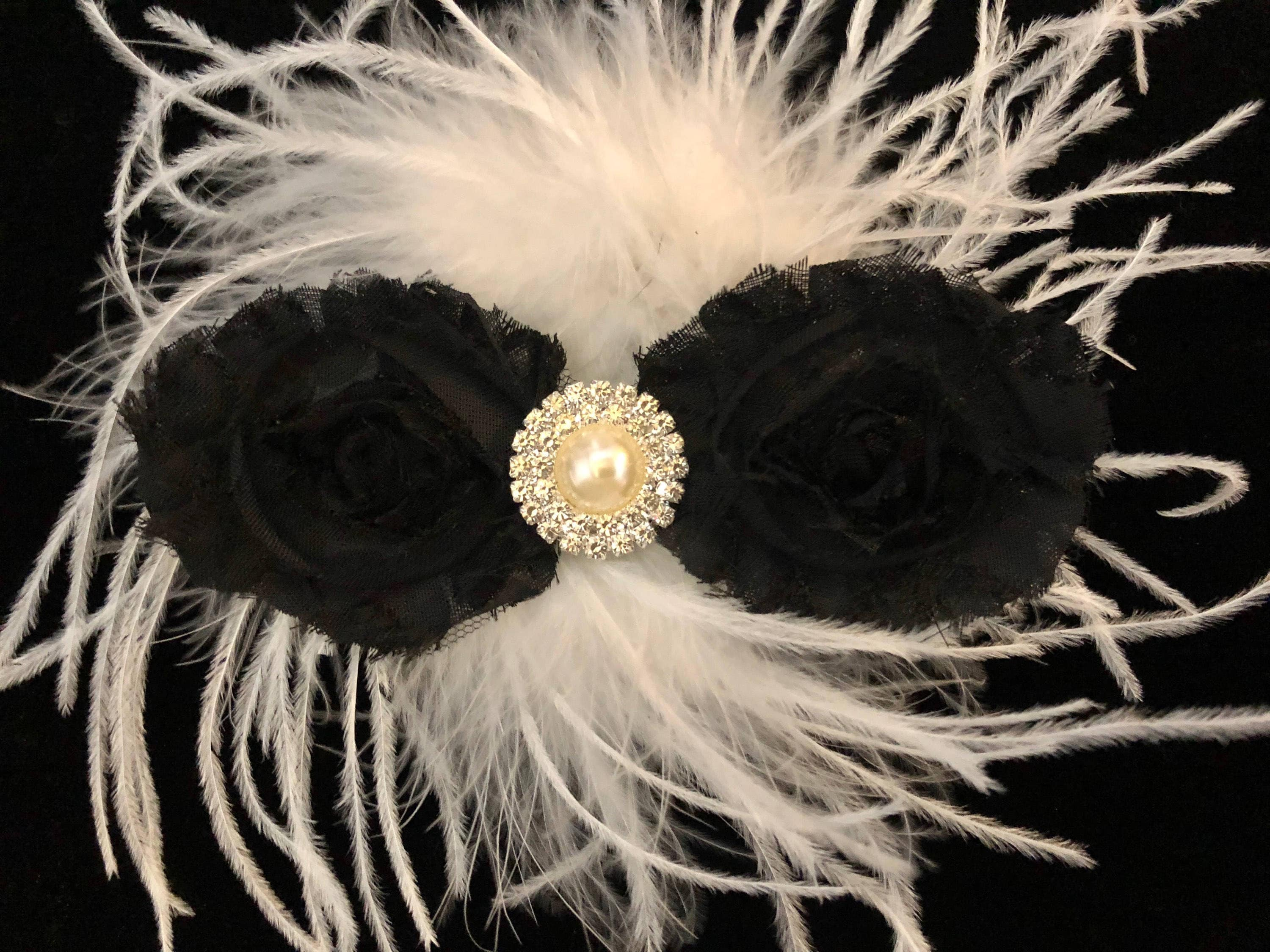 Black And White Flower Hair Clip Dance Hair Clip Bridal Hair Clip