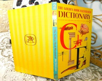 The Golden Book Illustrated Dictionary Vol 2, Vintage Dictionary Book, Vintage Children's Book, Hard Cover Book,