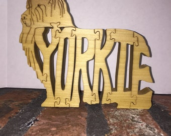 Yorkie Word Puzzle - Hand cut with scroll saw
