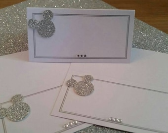 50 White and silver disney Mickey Mouse inspired place cards. wedding, birthday or dinner parties. Low cost, beautifully finished with care.