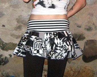 Eco Friendly Black and White Scrap Coton Mini Skirt Large Xlarge by Vicmes Clothing