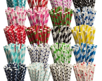 Pack of 25 Striped Paper Drinking Straws, Retro Vintage Cake Pop Lollipop Sticks