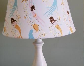 mermaid lampshade, mermaid accent lampshade, seashore lampshade, ocean/beach lamp, nautical theme lamp, nursery lampshade, desk lampshade