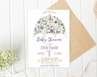 Baby Shower Invitation, Baby Shower Invitation Floral, Purple Baby Shower Invitation, Baby Shower Invitation Girl, Girl Baby Shower [522]