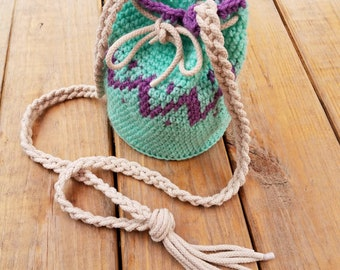 Crochet Aqua & Lavender Bucket Bag, Crochet Zig Zag Bucket Bag, Crochet Crossbody Bag, Summer Crossbody Bag, Aqua Shoulder Bag, Gift Bag