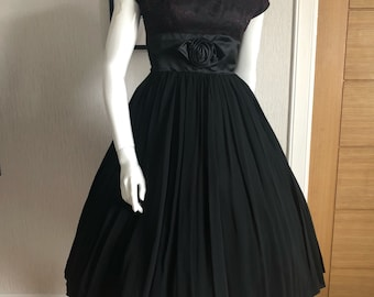 1950s black satin and chiffon dress with wine lace bodice