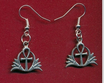 Lead free pewter ahnk dangling earrings with surgical steel french ear hooks SKU: ER1222