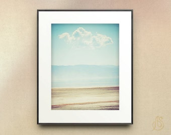 Great Salt Lake Photograph // Utah Photography // White Cloud Blue Sky Beach Landscape //  8x10 8x12 11x14