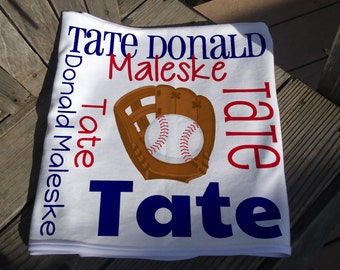 Personalized Baseball Baby Blanket - Sports Theme Receiving Blanket - Custom Baby Blanket - Baby Swaddle Blanket - Baby Blanket Photo Prop