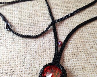 Dark Orange Rivoli Beadweave Necklace