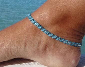 Anklet, ankle bracelet, Turquoise Blue beaded anklet, Wave Daisy Chain Ankle Bracelet, Seed Bead Anklet, Beach Anklet