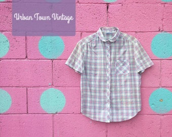 Vintage Lilac Plaid Camp Button Down Shirt (Size Medium)
