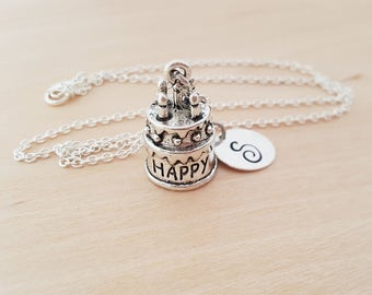 Happy Birthday Cake Charm - Birthday Necklace - Personalized Custom Initial Silver Necklace - Gift for Her