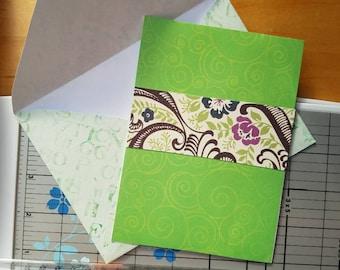 On Sale! Green blank greeting card