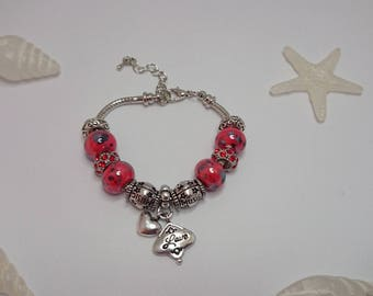 """Charm's Red charm bracelet with """"love"""" ref 477"""