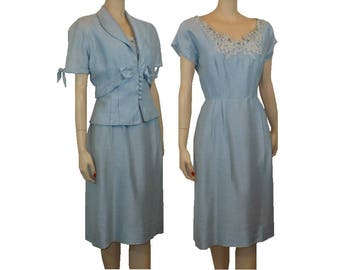 S As Is Vintage 1940's Silk 2 Piece Day Dress Jacket Ensemble Small