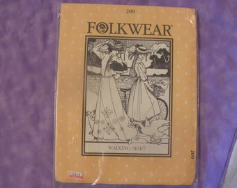 FOLKWEAR pattern. 209. WALKING SKIRT Vintage 1980. NewUncut. Womens sz 6-16