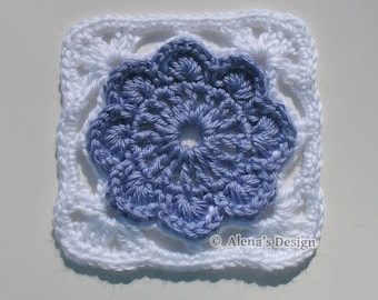 Crochet Pattern 152 - Granny Square - Crochet Patterns - Crochet Flower Motif - Crochet Afghan Block - Crochet Blanket Pattern - Pillow