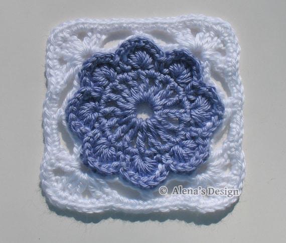 Crochet Pattern 152 - Granny Square - Crochet Patterns - Crochet Flower Motif - Crochet Afghan Block - Crochet Blanket Pattern - Pillow
