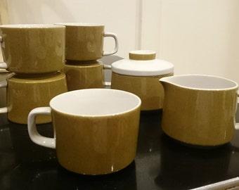 Set of 5 Mikasa Mediterrania Avocado Green Cups a Sugar Bowl and a Creamer