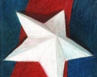Star ACEO -Original Colored Pencil Drawing