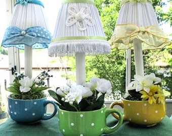 Lampshade with Electric candle, Night Light, Accent Lamp, Chandelier Lampshade, Mini Lampshade, small lamp, Tea Cup