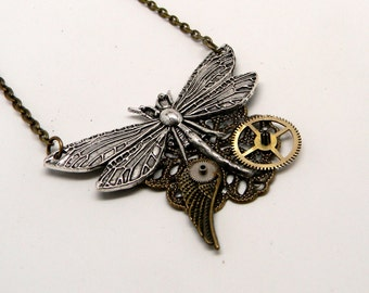 Steampunk jewelry. Steampunk dragon fly pendant necklace.