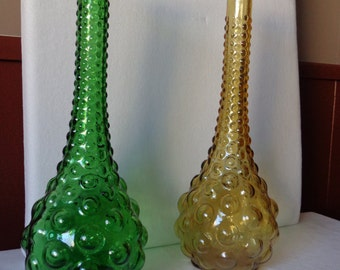 Italian 70's Golden and Green Bubble Vases