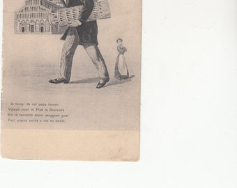 Fantasy Leaning Tower Of Pisa And Baptistry Exaggeration Postcard Man Holding Parts, Unused
