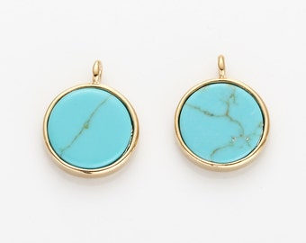 10mm Turquoise Flat Round Pendant, Turquoise Flat Round Charm Polished Gold Plated - 2 Pieces [G0156S-PGTQ]