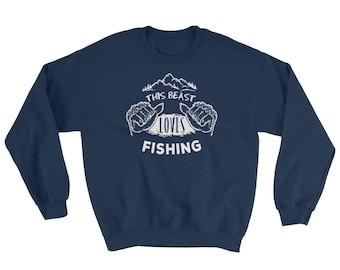 Fly Fishing, Graphic Sweatshirt, Sasquatch, Bigfoot, Sweatshirts, Fishing, Fisherman, Gift for Her, Gift for Him, Fishing Reel, Fishing Gift