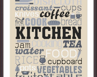 Kitchen Stitch Pattern, Digital  Pdf ,Graphics Counted Cross Stitch pattern in PDF  format, Painting,  Easy