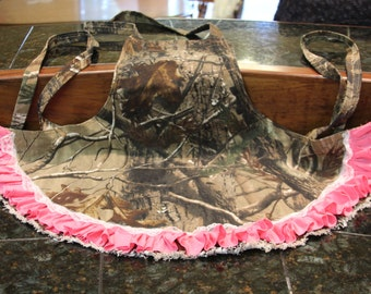 Realtree Camo Apron With Pink Ruffle Accent Sexy Outfit Outdoors Man Country Girl Cute Accent Inspired Gift For Her Handmade