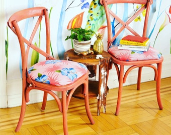 Two coral Rachel Ashwell Shabby Chic Chairs w/ tropical upholstery