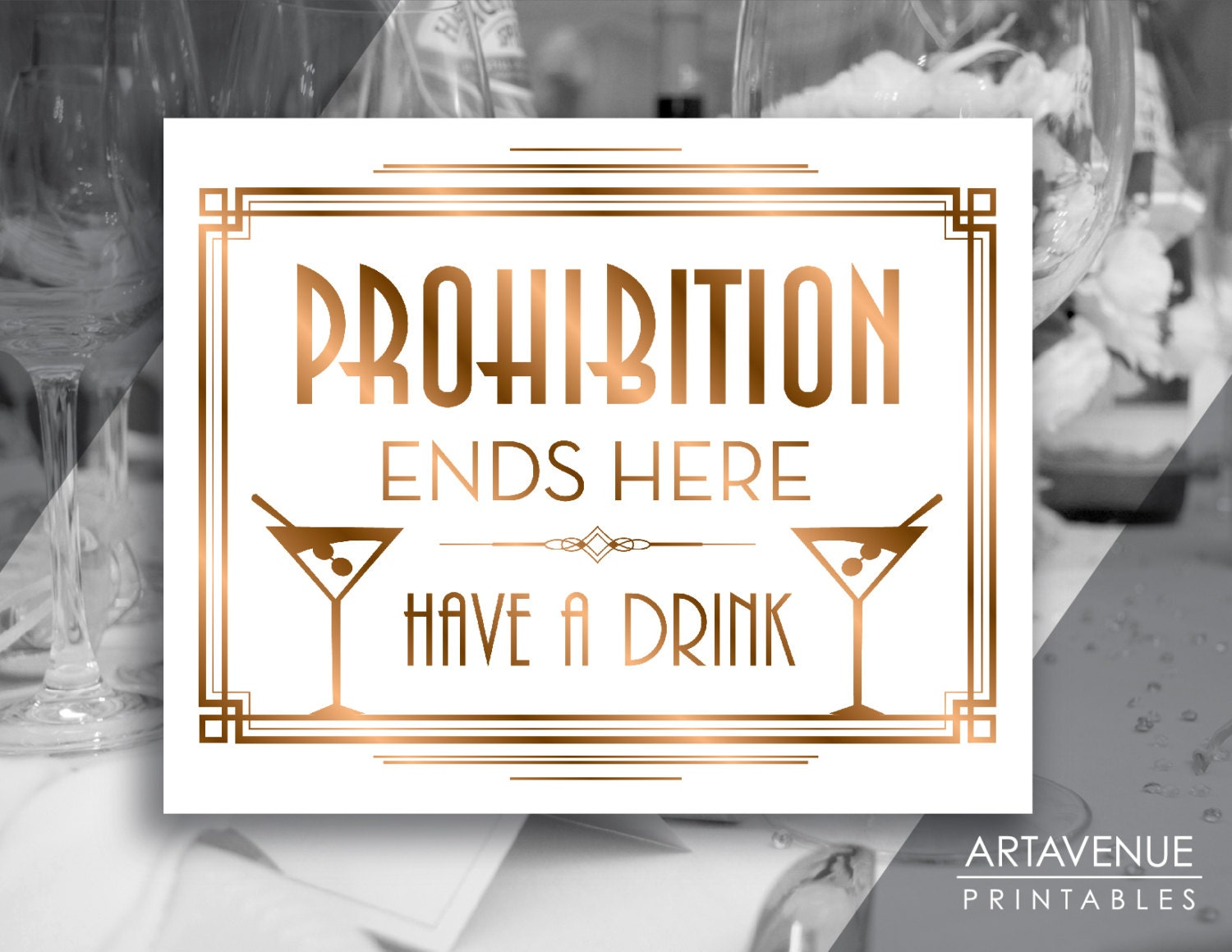 Gatsby Prohibition Printable Art Gatsby Wedding Art Deco Party