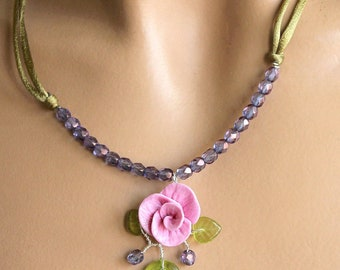 Purple and Green Flower necklace