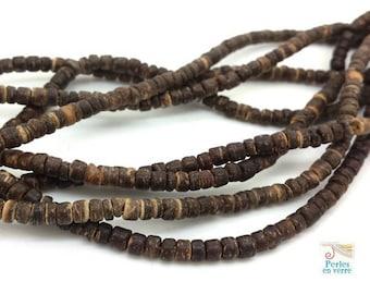 150 washers 2x4mm (pb37) dark brown coconut wood beads