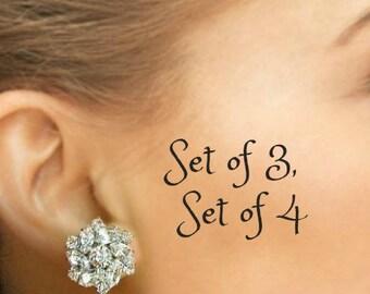 Set of 3, Set of 4, Bridesmaids earrings, Crystal post Earrings, Bridesmaids stud earrings, Bridesmaids Jewelry, Bridesmaids Gifts