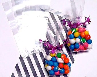 "Crystal Clear 'Cello' Poly Bags. 100 2.5"" x 1.25"" x 7.5"" Goodie Bag for Wedding, Shower, Gift, Party, CANDY BUFFET! GUSSETED"